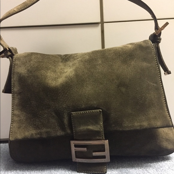Fendi Handbags - Green suede Fendi shoulder bag 369fe107ab03d